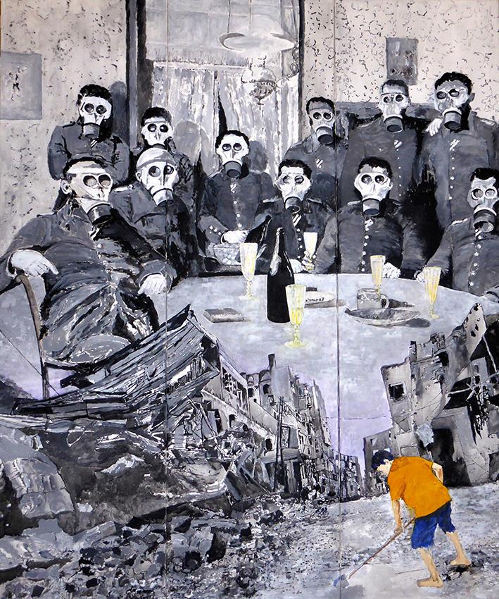 Der-Krieg-fangt-in-den-Kopfen-an;-Tripty-chon;-Acryl-a.-L.;-180-x-150-cm;-2014